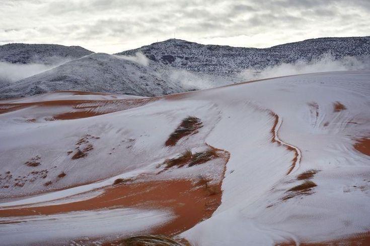 Las impresionantes fotos de una nevada histórica en el desierto del Sahara - informacion-general