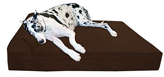 """Big Barker 7"""" Pillow Top Orthopedic Dog Bed - Giant Size - 60 X 48 X 7 Inches - Chocolate - For Large and Extra Large Breed Dogs (Headrest Edition)"""