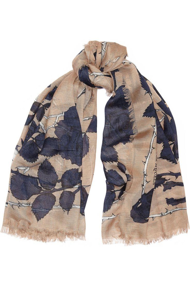 Alexander McQueen | Nest of Roses printed modal and silk-blend scarf | NET-A-PORTER.COM