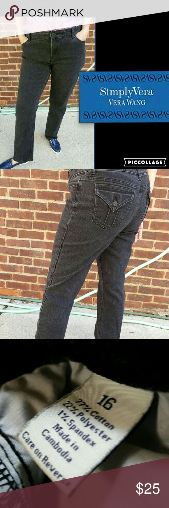 Simply Vera black denim jeans 16 These jeans are so comfortable and looks so good on. Approximate 17 inch waist with 9-inch rise and average length. For reference I wear 32 inch length and I am the model. Price firm. Simply Vera Vera Wang Jeans Straight Leg