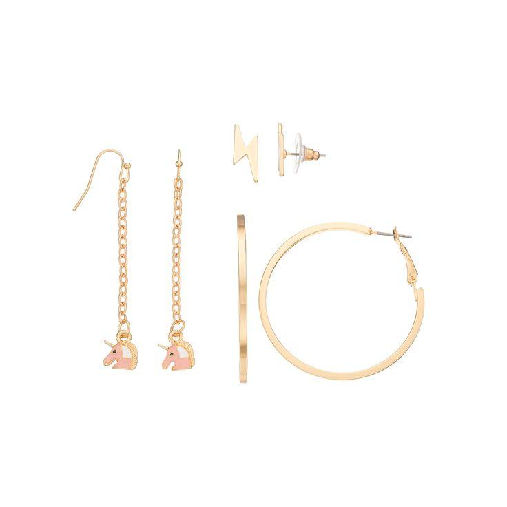 Mudd® Unicorn Drop, Lightning Bolt Stud & Hoop Nickel Free Earring Set, Women's, Gold