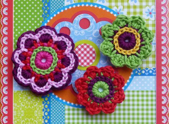 Crochet flower set magnets by ATERGcrochet on Etsy, €6.50