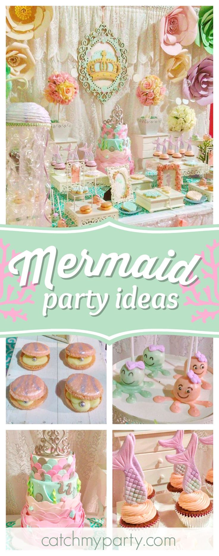 Don't miss this gorgeous romantic princess of the sea birthday party. The dessert table is so magical!! See more party ideas and share yours at CatchMyParty.com