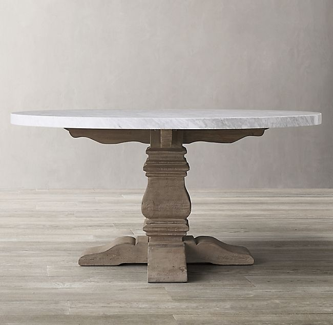 Salvaged Wood Marble Trestle Round Dining Table Dining Table Round Dining Table Round Dining