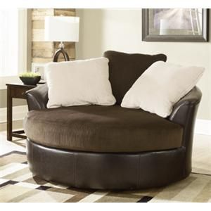 Victory Chocolate Oversized Round Swivel Chair By