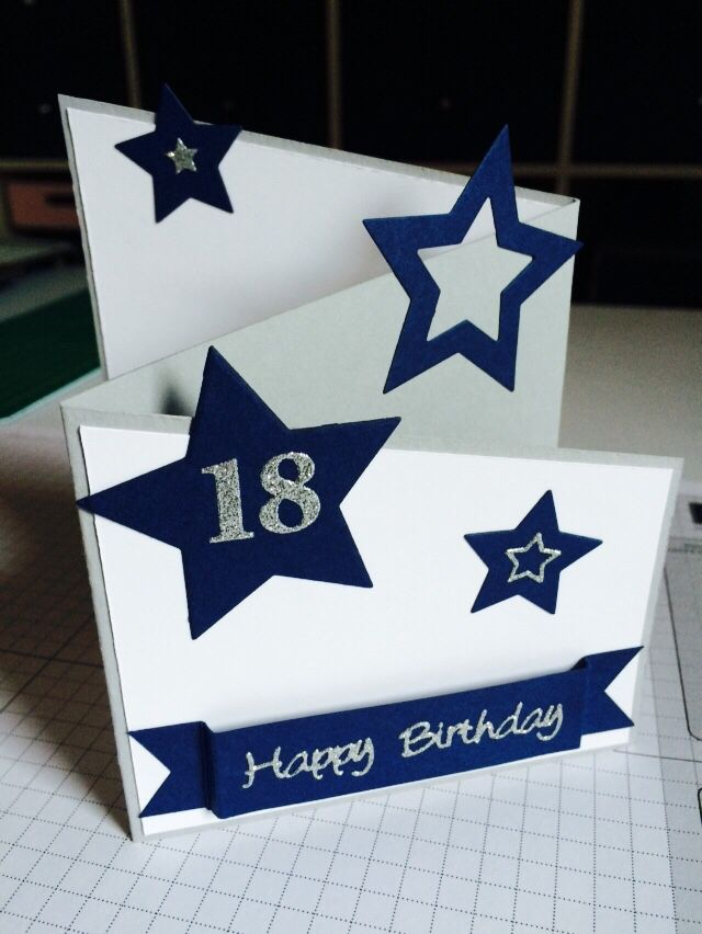 18th birthday card made with the Stampin Up star framelits. Cased from the colourmecardchallenge blog.