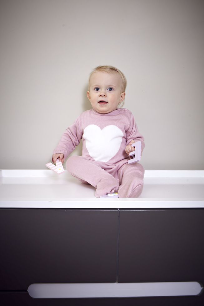 Pink Heart Knitted Bodysuit and Hat Set