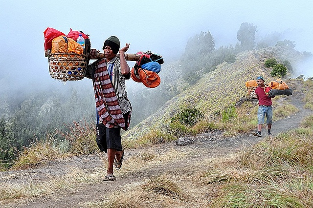 These porters carry everything up the mountain for you... food, water, tents, cooking equipment. EVERYTHING!  All on their shoulders. Mount Rinjani, Lombok, Indonesia