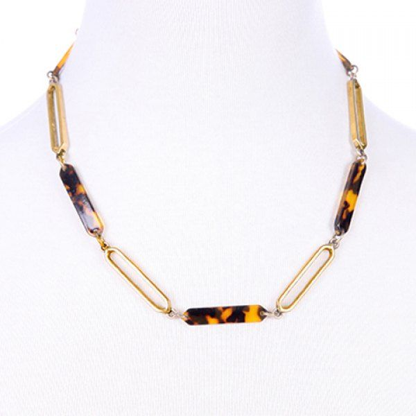 Simple Leopard Pattern Resin Alloy Necklace For Women #men, #hats, #watches, #belts, #fashion, #style