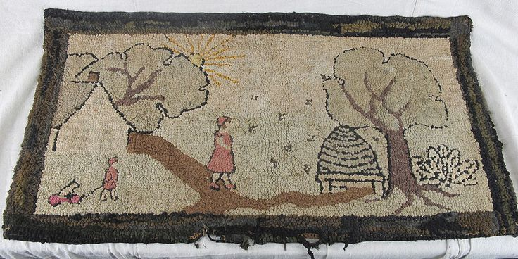 RARE! Antique Primitive Hooked Rug HUGE Beehive & Bees Folk Art 37½ x 19½ NR yqz