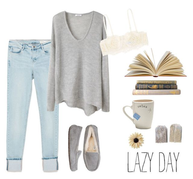 """""""Lazy day"""" by paloma-duarte-s ❤ liked on Polyvore featuring Zara, Helmut Lang, La Perla, mae and UGG Australia"""