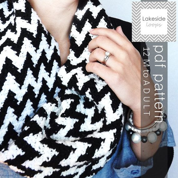 Instant Download  The Cooper Chevron Crochet Cowl by LakesideLoops