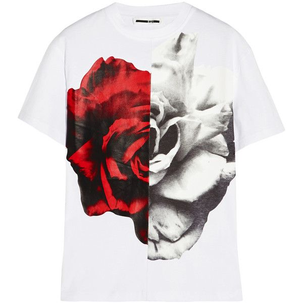 McQ Alexander McQueen Printed cotton-jersey T-shirt (€150) ❤ liked on Polyvore featuring tops, t-shirts, white, relaxed fit tee, print tees, print t shirts, white top and relax t shirt