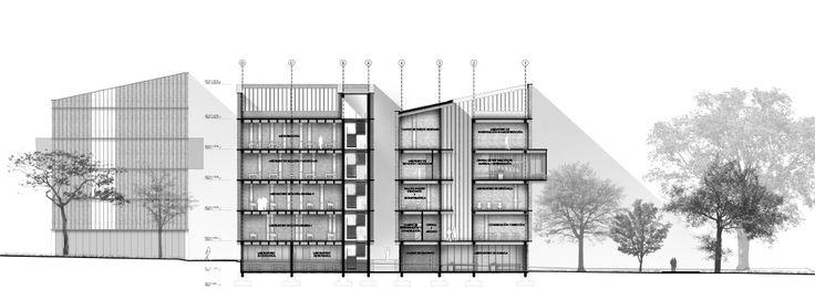 Espacio Colectivo Arquitectos, primer lugar en Concurso Edificio de Laboratorios de la Universidad Javeriana de Cali,Corte/Sección B-B'