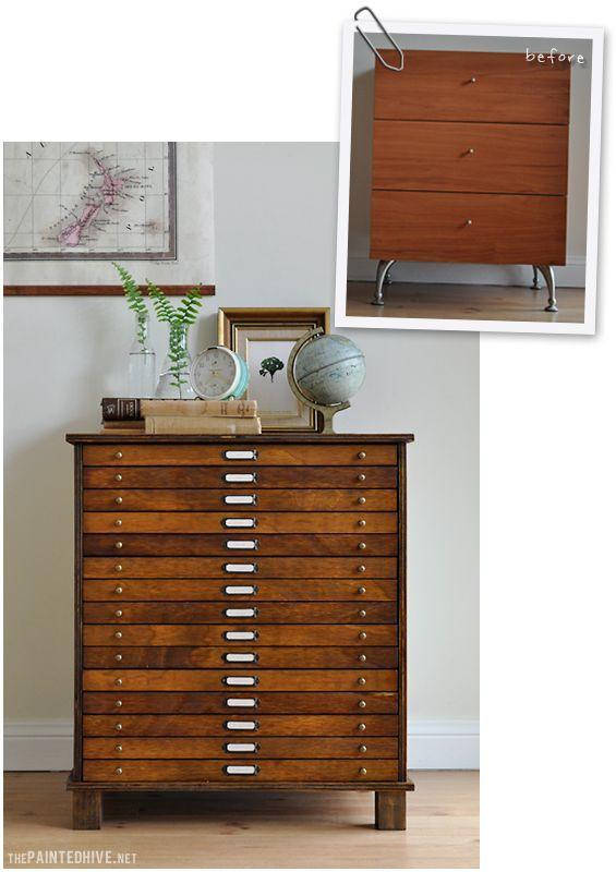 DIY Transformation d'un meuble à trois tiroirs. (http://thepaintedhive.net/2014/07/re-love-project-before-after/)