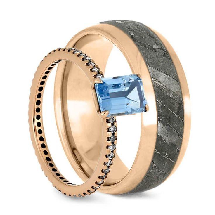 Stunning Rose Gold Wedding Rings Aquamarine Engagement Ring And Meteorite Wedding Band Ring Set