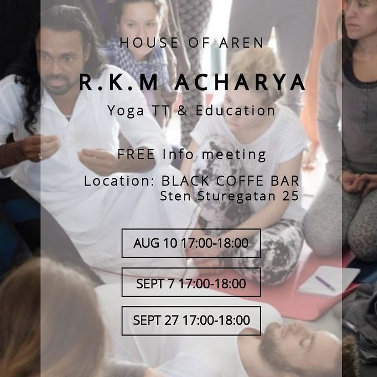 TEACHER TRAINING | Our FREE info meeting for the R.K.M Acharya Yoga Education has been updated with location. We are excited to meet up at the newly opened @black on Stensturegatan 25 in Gothenburg. Bring yourself and whomever might be interested. Friends family colleagues partners - this course if suitable for anyone looking to balance and clear the body and mind.  Find out more about Ratheesh www.yogamakes.com http://ift.tt/2sjCUHF  #yogateachertraining #ytt #rkmacharyayoga #yogafilosofi…