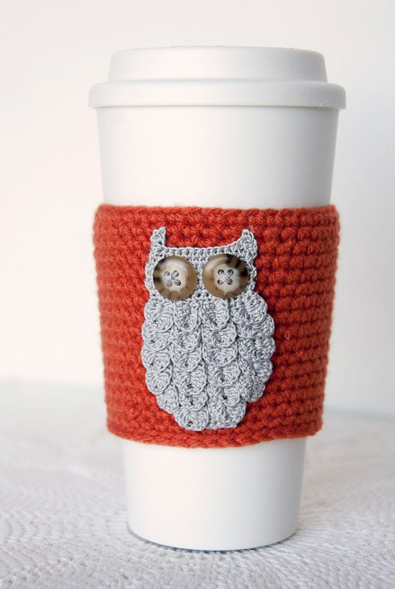 Coffee Cozy gray woodland owl crocheted pumpkin by ...