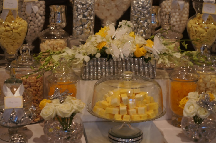 Yellow and White Candy Buffet by Ooh La La Lolly Bars & Candy Buffets