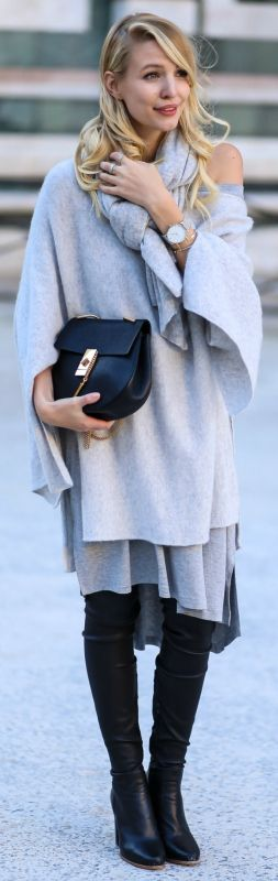 Leather leggings + layered cashmere look + Leonie Sophie + long grey shirt+ cashmere jumper + scarf + ultimate cute winter look  Shirt: Asos, Poncho/Boots: Zara, Bag: Chloe, Scarf: Stefanel.