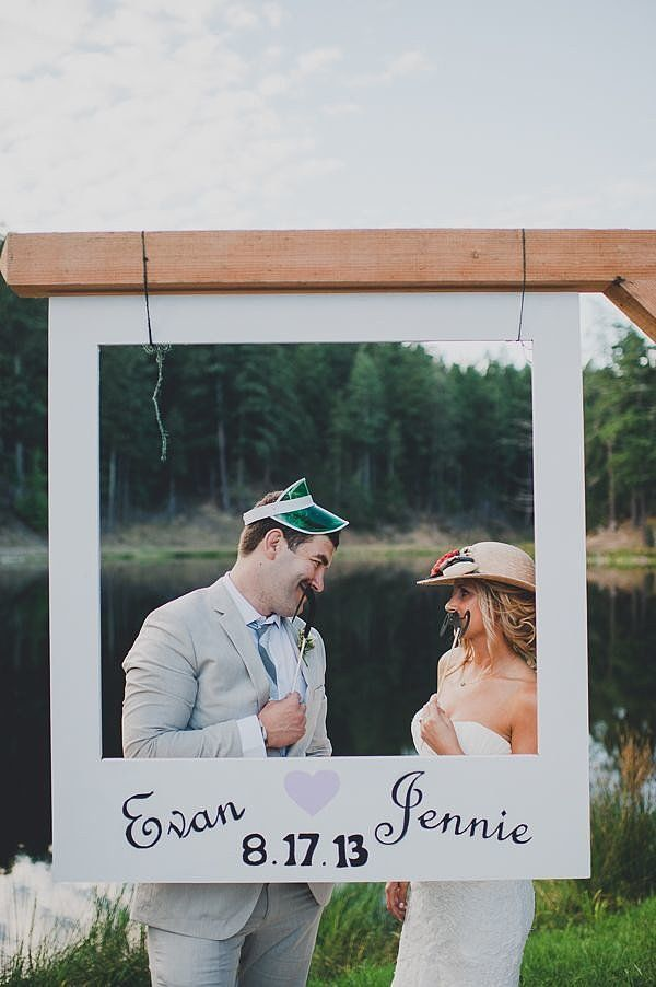 Love this crafty polaroid photo booth setup! Tip: help guests avoid missing major reception moments (like the first dance) by keeping the booth closed during that time. Photo by Carina Skrobecki