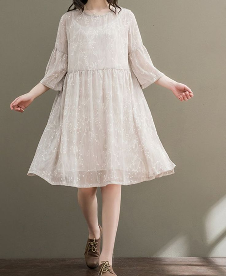 Women loose fitting over plus size flower chiffon dress pregnant maternity chic #Unbranded #dress #Casual