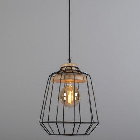 Lámpara colgante FRAME madera 1 negra #interiorismo #decoracion #iluminacion