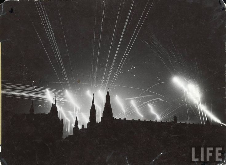 """""""Silhouette of Moscow during a German bombing raid, 1941.  Taken by Margaret Bourke-White.    Bourke-White was the first female war correspondent and the first woman to be allowed to work in combat zones during World War II. In 1941, she traveled to the Soviet Union just as Germany broke its pact of non-aggression. She was the only foreign photographer in Moscow when German forces invaded. Taking refuge in the U.S. Embassy, she then captured the ensuing firestorms on camera."""""""