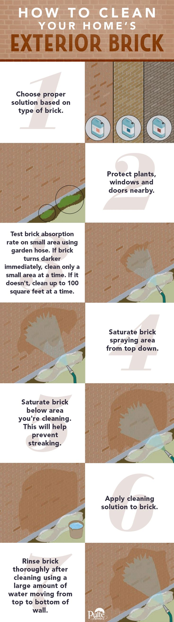 The exterior brick on your home is low maintenance with a high aesthetic value. To maintain your home's curb appeal, follow these simple steps for cleaning brick. | Pulte Homes