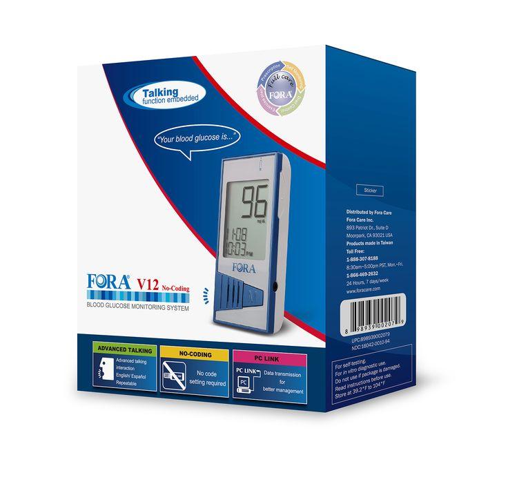 FORA V12 Talking Blood Glucose Meter (English / Español)