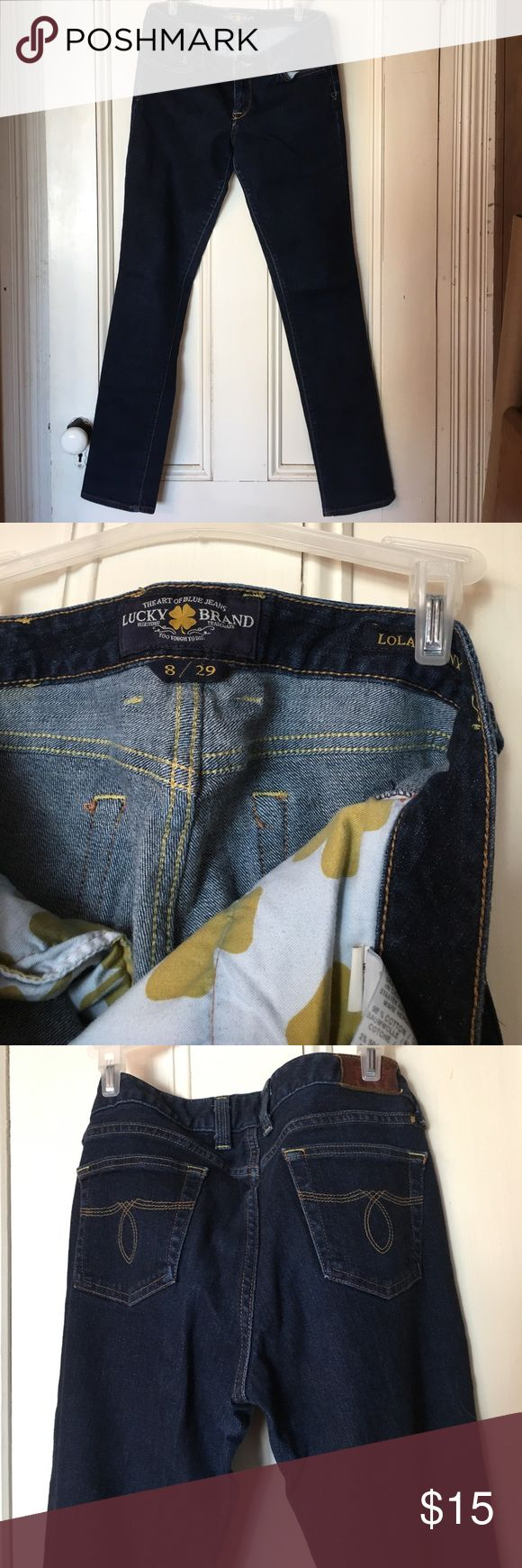 """Lucky Brand Jeans Lucky Brand Jeans, size 8/29, Lola Skinny.  These are a very snug fit and definitely  """"skinny"""" Jeans. Lucky Brand Pants Skinny"""