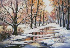 Artecy Cross Stitch. Golden Winter Pastel Cross Stitch Pattern to print online.