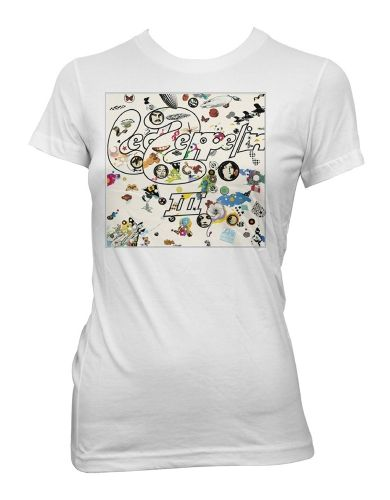 Led Zeppelin III Womens T-Shirt - This Led Zeppelin womens t-shirt in white, features the cover artwork from the bands Led Zeppelin III album, printed on its front.