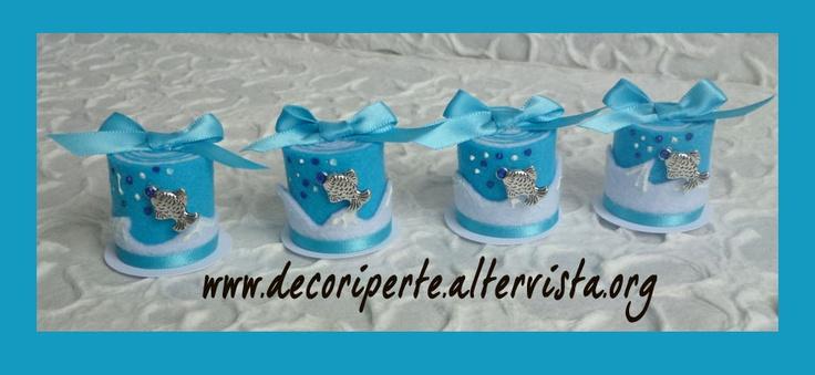 Sea FELT mini wedding cake with silver fish charms