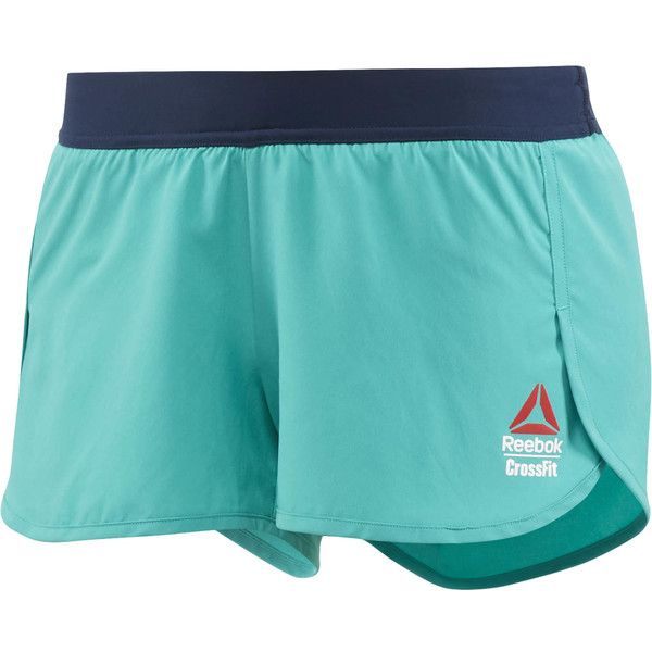 Reebok CrossFit Games Ass to Ankle Short ($60) ❤ liked on Polyvore featuring activewear, activewear shorts, apparel, neon pacific, reebok activewear, reebok, reebok sportswear and neon activewear