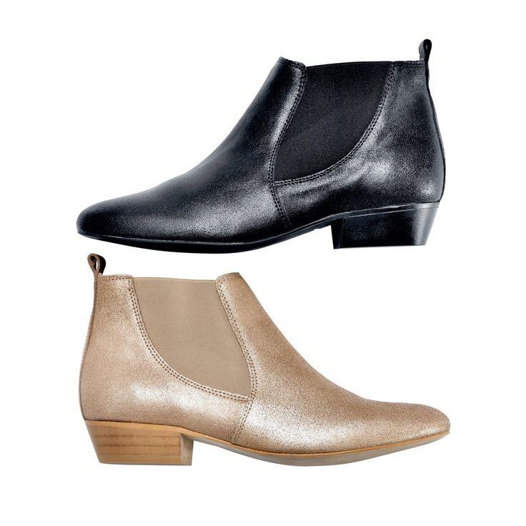 Boots Soft Grey et sa version dorée > http://www.laredoute.fr/vente-boots-en-croute-de-cuir-irise.aspx?productid=324418444 #boots #chaussures #SoftGrey #laredoute #mode