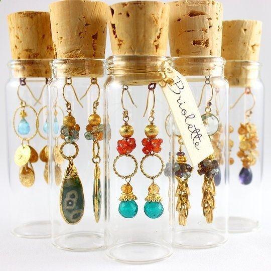 corked vial packaging   beautiful earrings by briolette jewelry