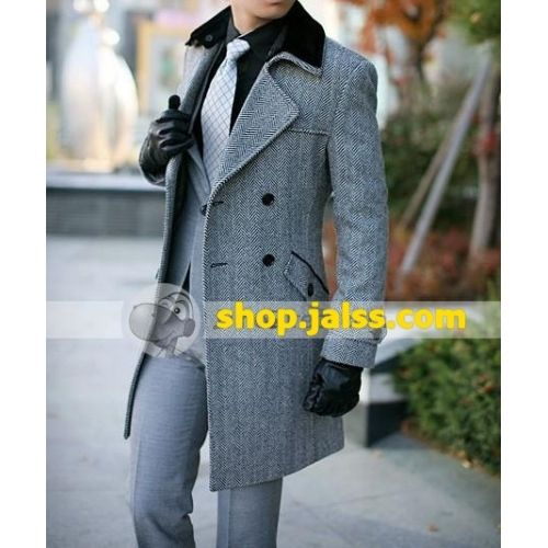 Double Breasted Over Coats for Men   Fashion Long Slim Double Breasted Woolen Mens Overcoat