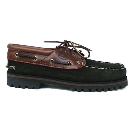 Zapato náutico combinado en ante verde y piel marrón de Ashcroft. Vista lateral