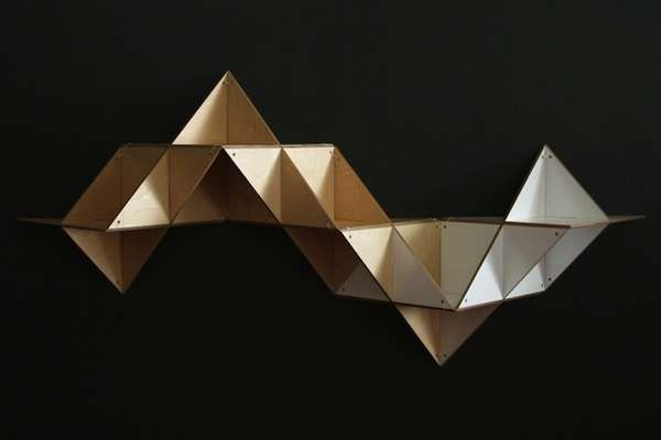 Foldable Origami Furniture - The T.SHELF Modular Shelving System Contorts to Decor Needs (GALLERY)