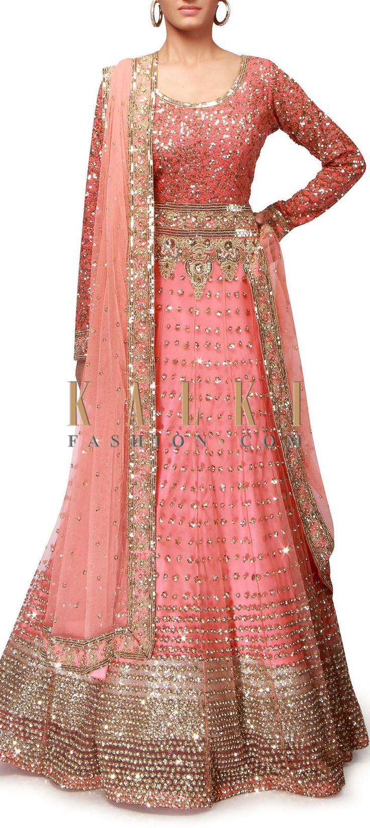 pink anarkali suit adorn in sequin embroidery