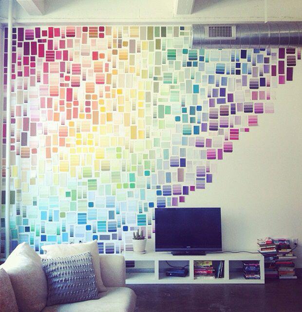 Rainbow paint chip wall.