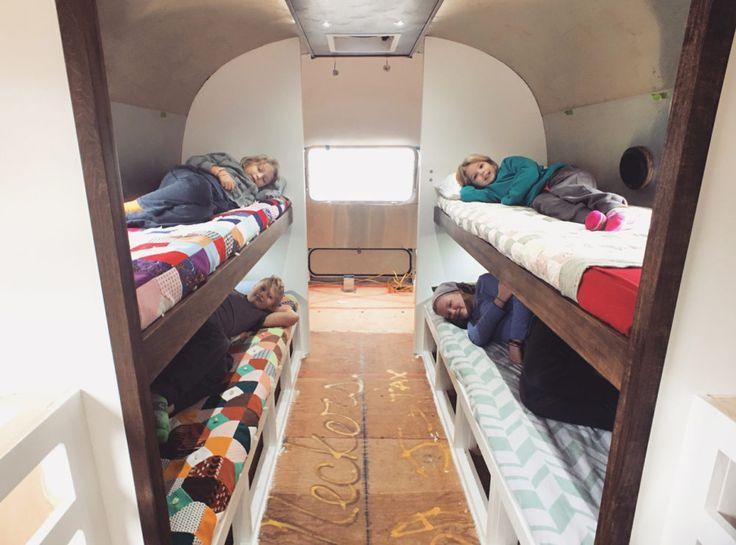 The last couple of weeks in the Airstream have seen huge progress. Most of the cabinets are built as well as our sweet custom fold down bunk beds. Don't miss the super functional power plugs and reading lights in the kids bunk areas!