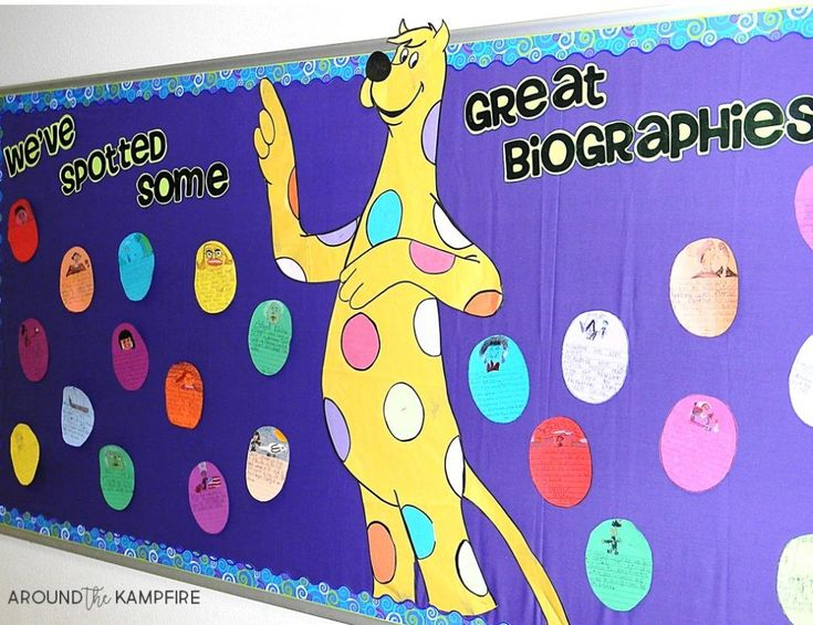 Literacy Week bulletin board idea- We've Spotted Some Great Biographies based on Put Me in the Zoo by Robert Lopshire. Students summarized biographies on these biography spots.