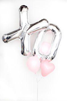 "Valentine's Day silver ""XO"" balloons"