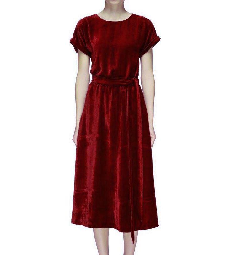 Купить Платье миди из бархата - бархатное платье, бордовое платье, красное платье, платье из бархата