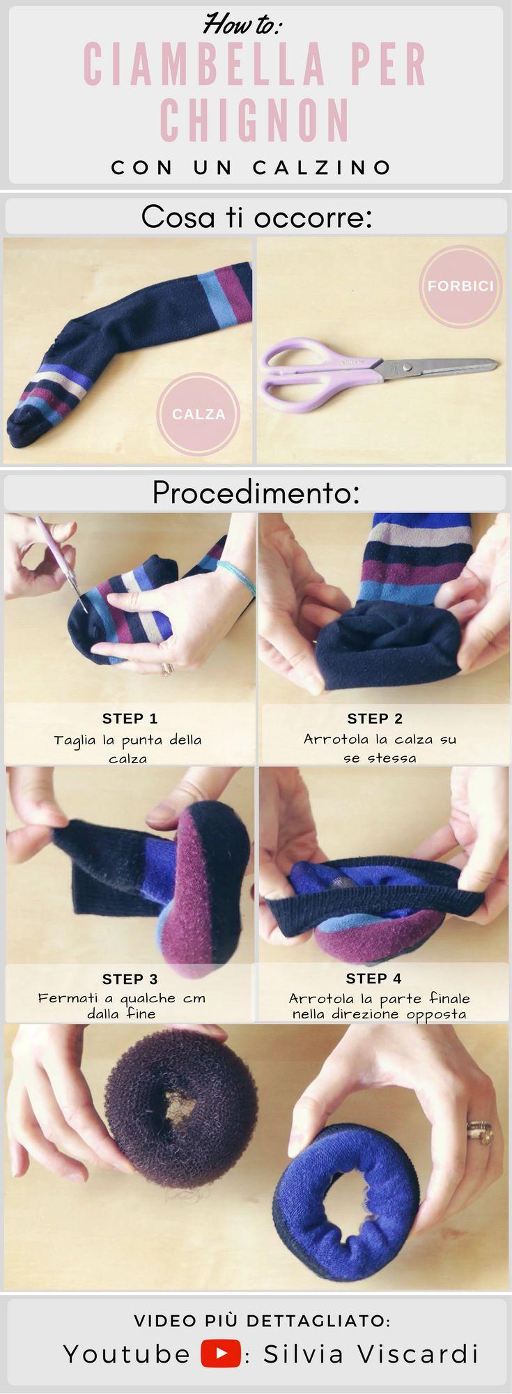 Come Fare Una Ciambella Per Chignon Con Un Calzino || Sock Bun