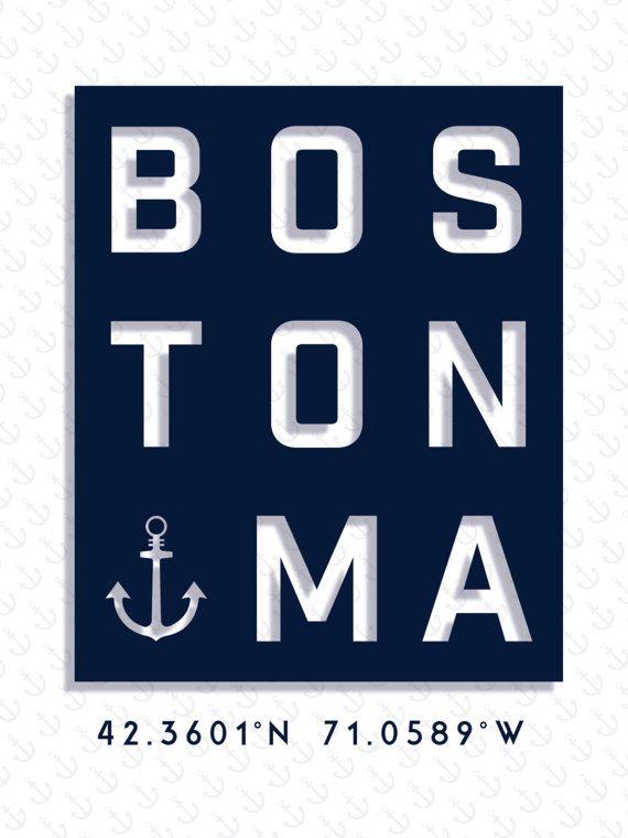 Boston Typography Print, Boston Poster, Boston Art, Massachusetts Wall Art, Nautical Decor, Beachhouse Print, Typography Print, City Poster, Beach Art, Beach House Print, Nautical Ideas, Nautical Bathroom, Boston Vintage Travel