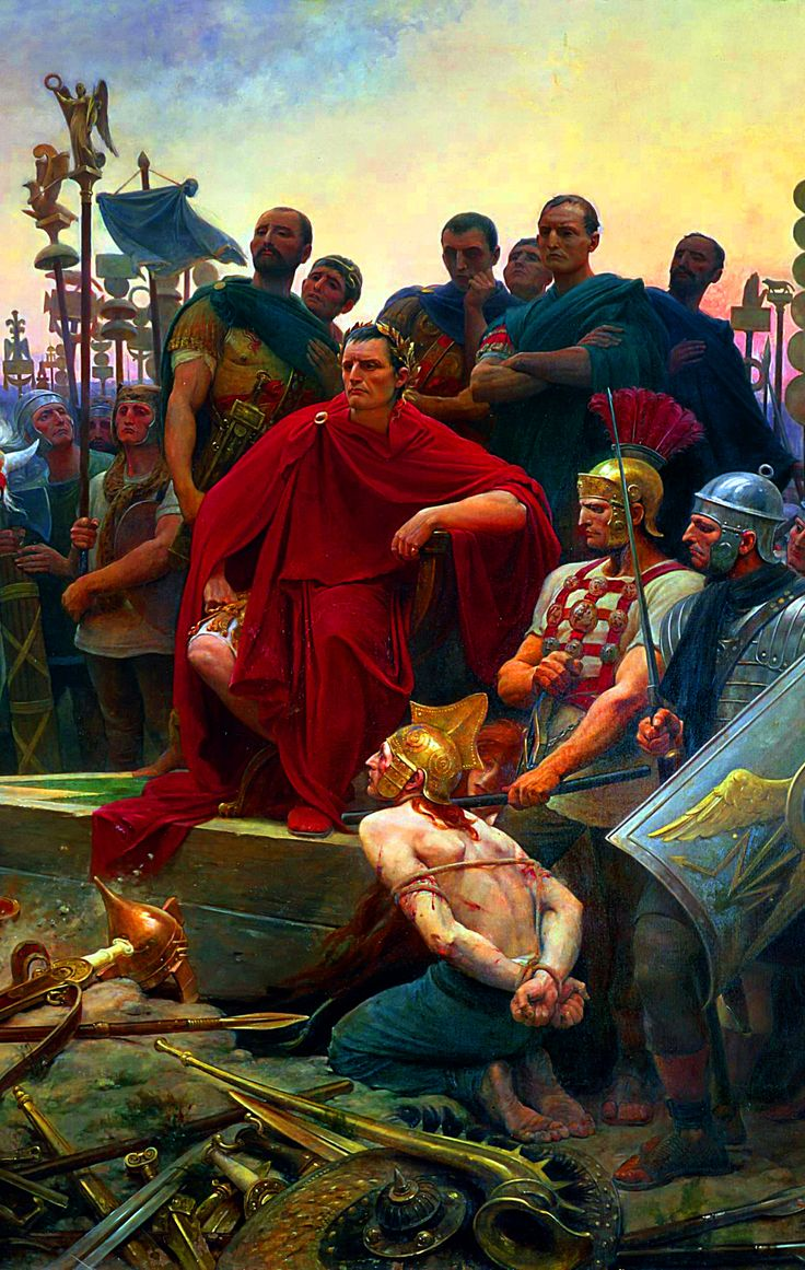 Julius Caesar with Gallic captives after the Battle of Alesia