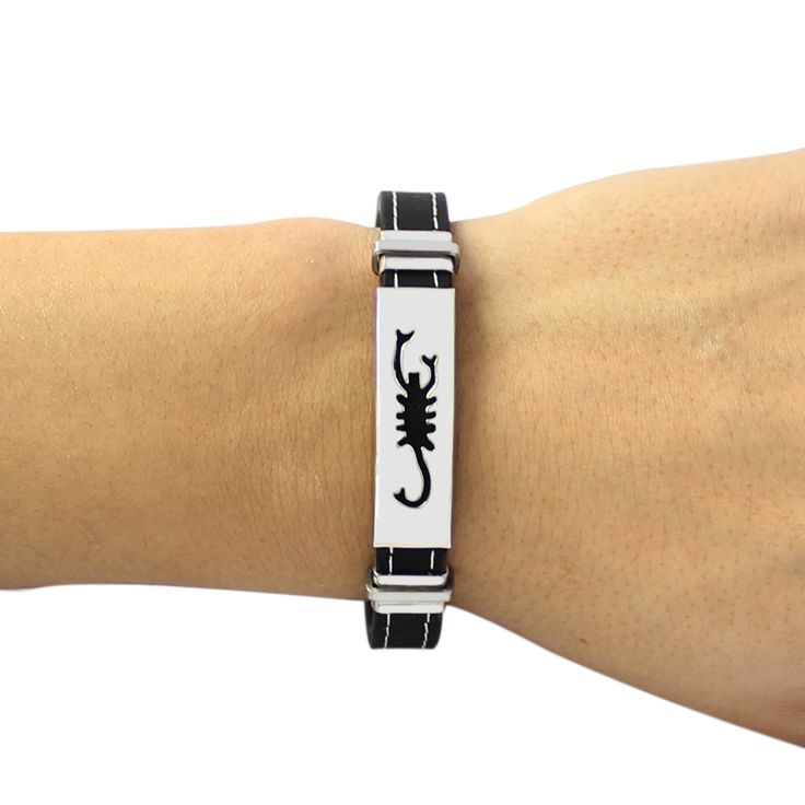 Fashion Constellations Bracelets Unique Titanium Steel Scorpio Male Bangle Casual Genuine Silicone Wristband Party Jewelry